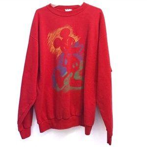 Vintage 80's Mickey Mouse Crewneck Sweatshirt Lg